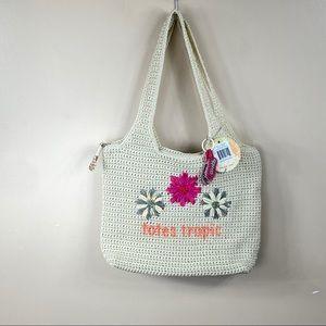 The Sak crochet tote natural tropical crochet